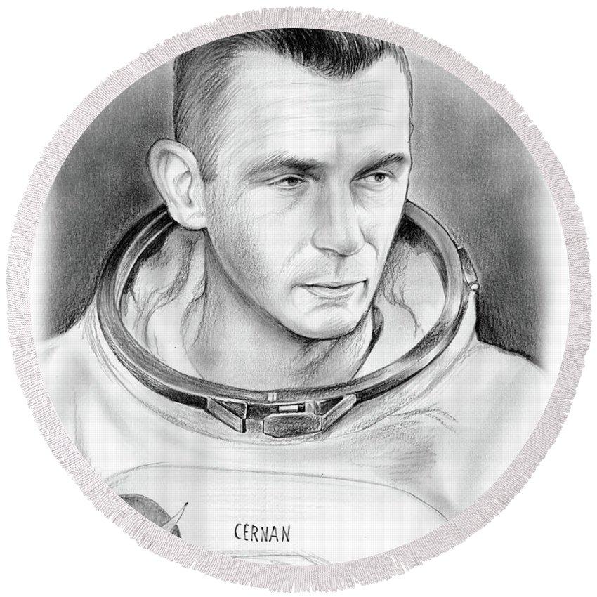 Gene Cernan Round Beach Towel featuring the drawing Astronaut Gene Cernan by Greg Joens