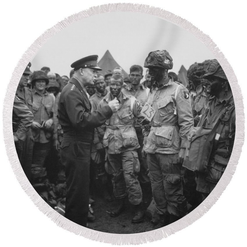 101st Airborne Division Round Beach Towel featuring the photograph General Eisenhower On D-day by War Is Hell Store