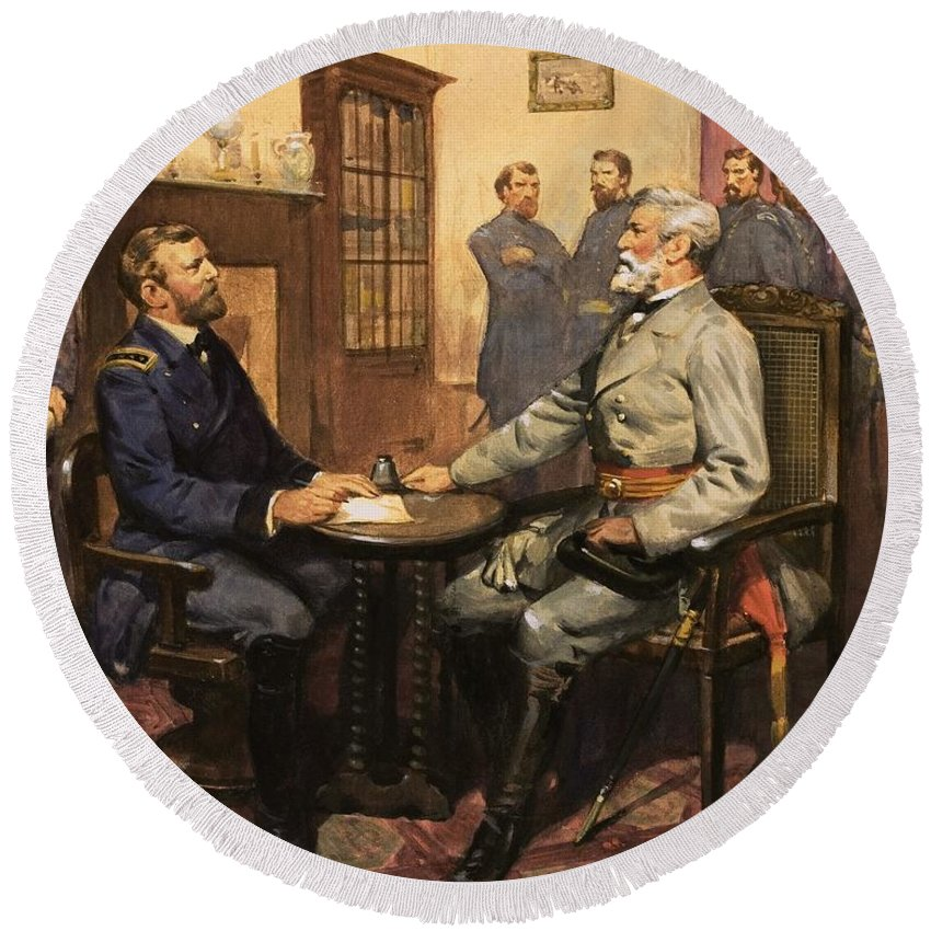 General Grant Meets Robert E. Lee By English School (20th Century) Great Commanders: Hero Of The Southland. General Grant Meets Robert E. Lee. America; Army; Soldiers; American; Flag; American Civil War; Robert E Lee; General Grant; Surrender; Confederate; Union; Us Round Beach Towel featuring the painting General Grant Meets Robert E Lee by English School