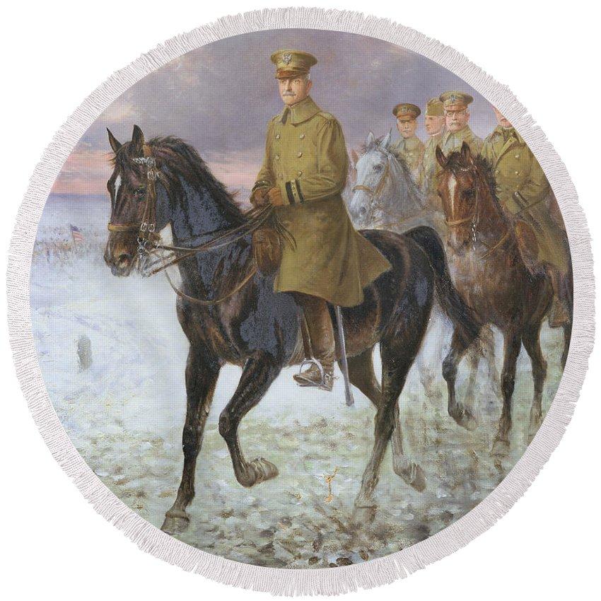 General Round Beach Towel featuring the painting General John J Pershing by Jan van Chelminski