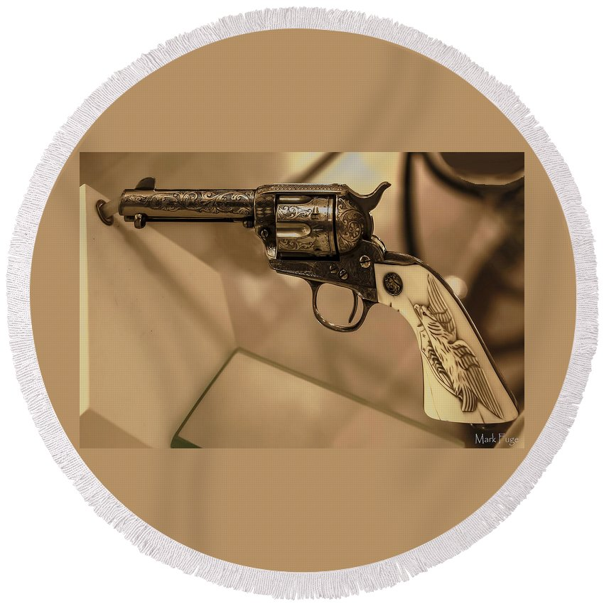 Kentucky Round Beach Towel featuring the photograph General Patton's Model 1873 Colt 45 Revolver by Mark Fuge
