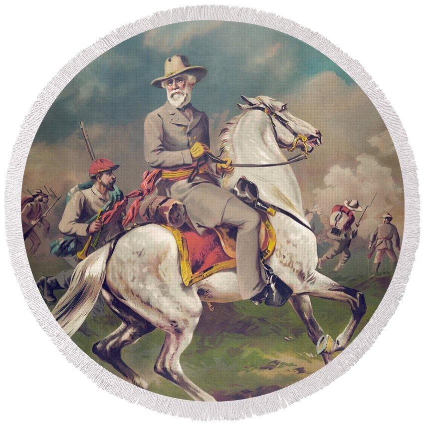 General Lee Round Beach Towel featuring the painting General Robert E. Lee On Horseback by War Is Hell Store