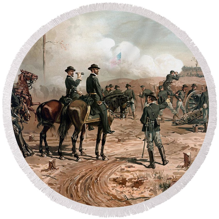 General Sherman Round Beach Towel featuring the painting General Sherman Observing The Siege Of Atlanta by War Is Hell Store