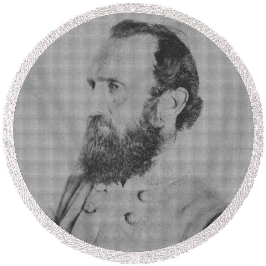 Stonewall Jackson Round Beach Towel featuring the photograph General Thomas Stonewall Jackson - Two by War Is Hell Store