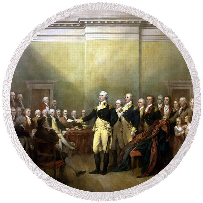 George Washington Round Beach Towel featuring the painting General Washington Resigning His Commission by War Is Hell Store