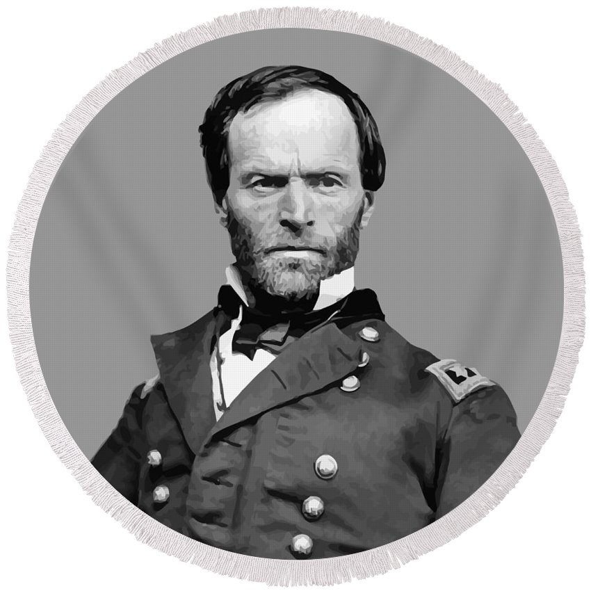 William Sherman Round Beach Towel featuring the painting General William Tecumseh Sherman by War Is Hell Store