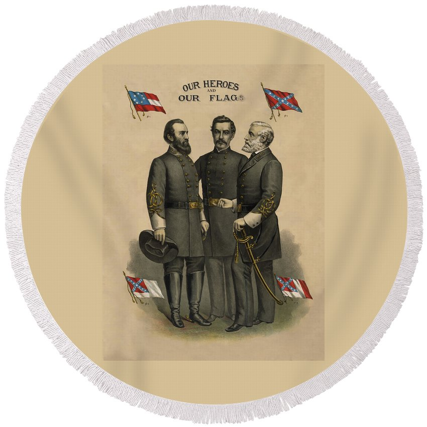 Confederate Round Beach Towel featuring the painting Generals Jackson Beauregard And Lee by War Is Hell Store