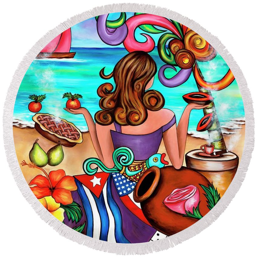 Cuba Round Beach Towel featuring the painting Generation Spanglish by Annie Maxwell