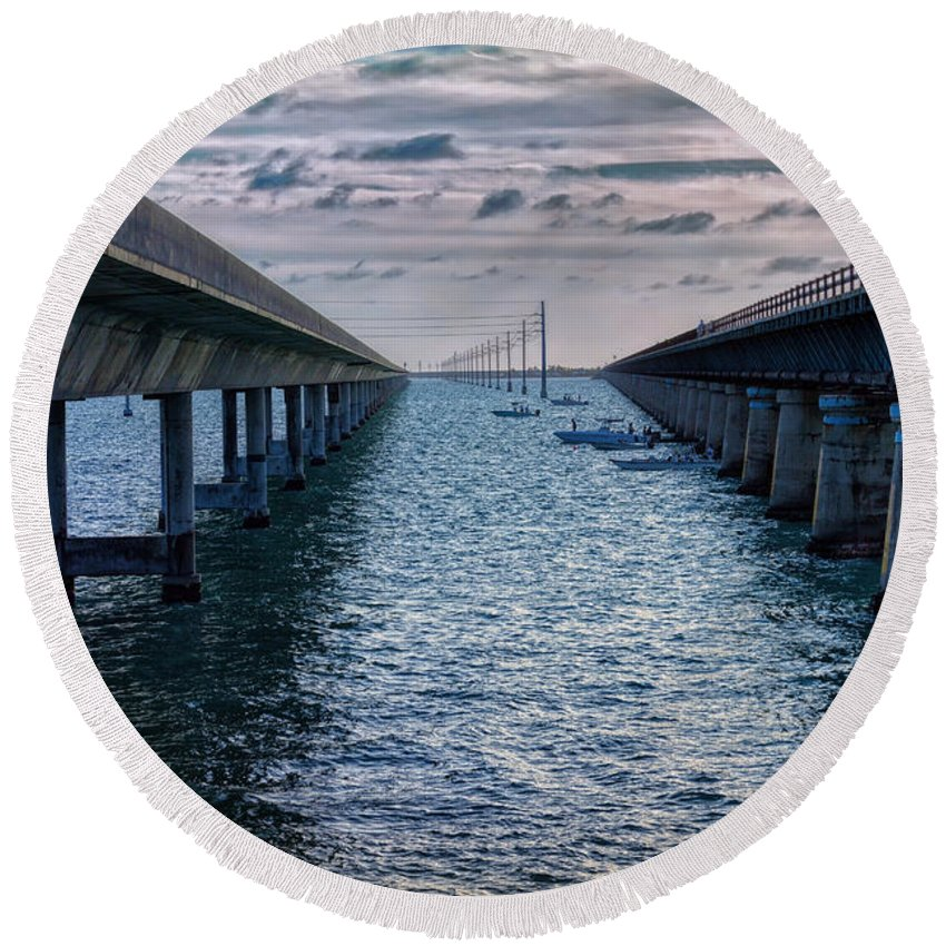 Architecture Round Beach Towel featuring the photograph Generations Of Bridges by John M Bailey