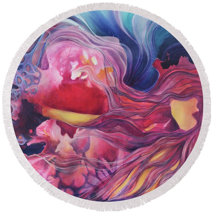 Feminine Round Beach Towel featuring the painting Genesis by Darcy Lee Saxton