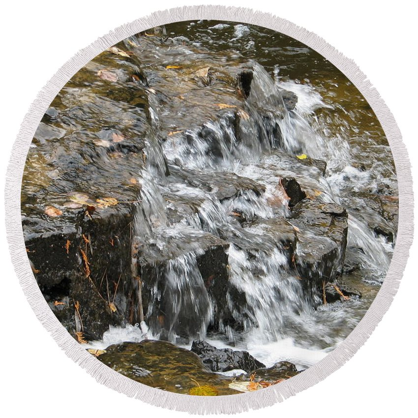 Waterfall Round Beach Towel featuring the photograph Gentle Falls by Kelly Mezzapelle