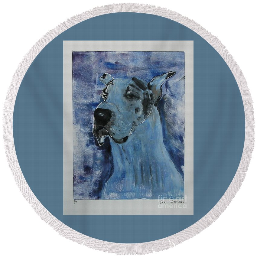 Great Dane Round Beach Towel featuring the mixed media Gentle Giant by Cori Solomon
