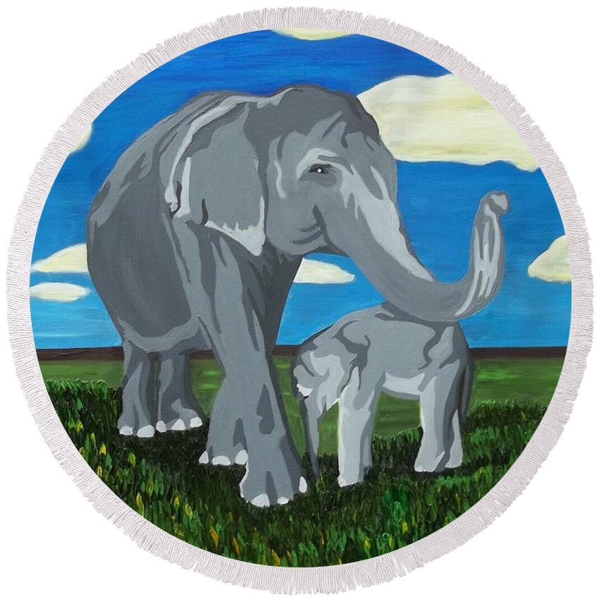 Asia Elephants Round Beach Towel featuring the painting Gentle Giants by Amy Pugh