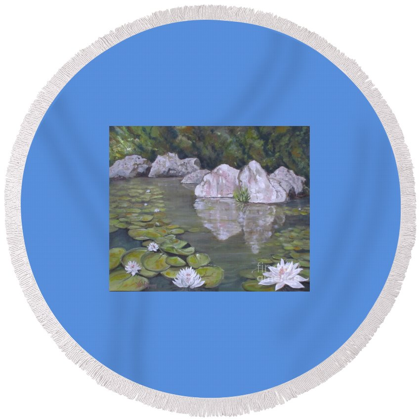 Water Lilies Round Beach Towel featuring the photograph Gentle May Day by Valerie Ann Peterson