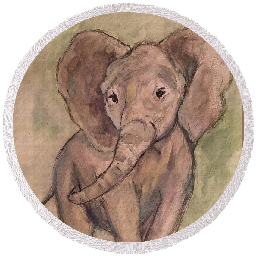 Elephant Round Beach Towel featuring the painting Gentle One by Katie Barnes