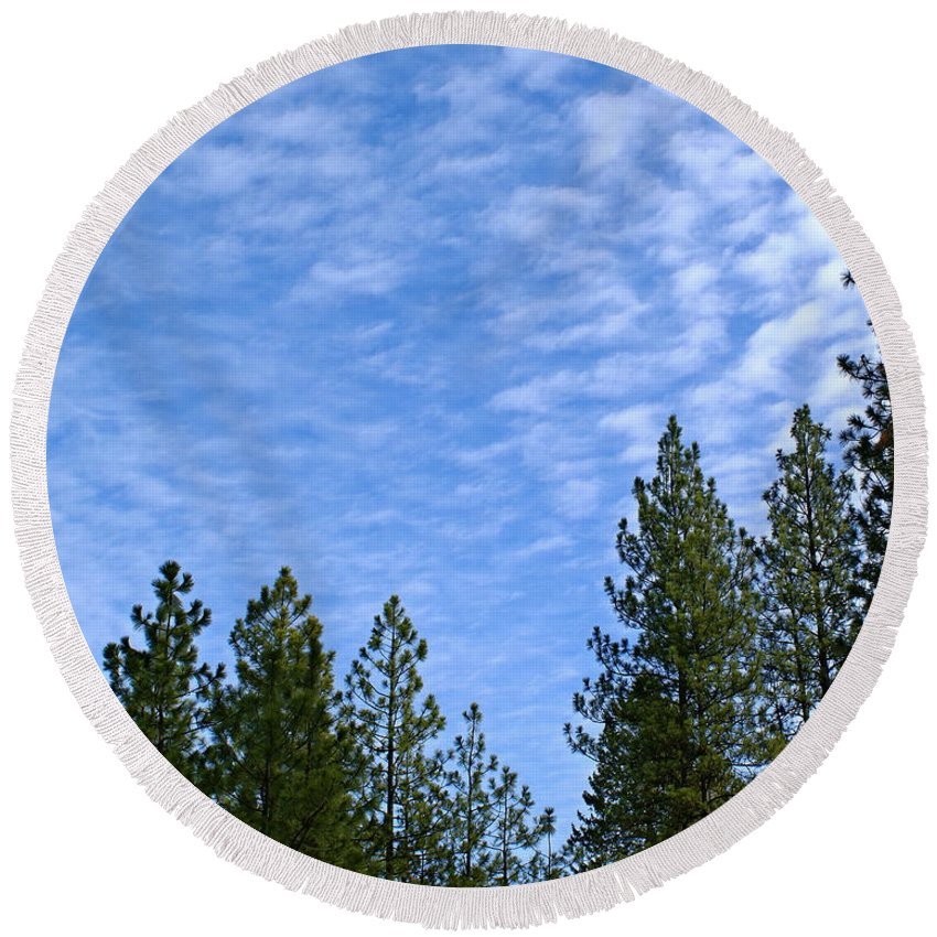 Nature Round Beach Towel featuring the photograph Gentle Sky by Ben Upham III