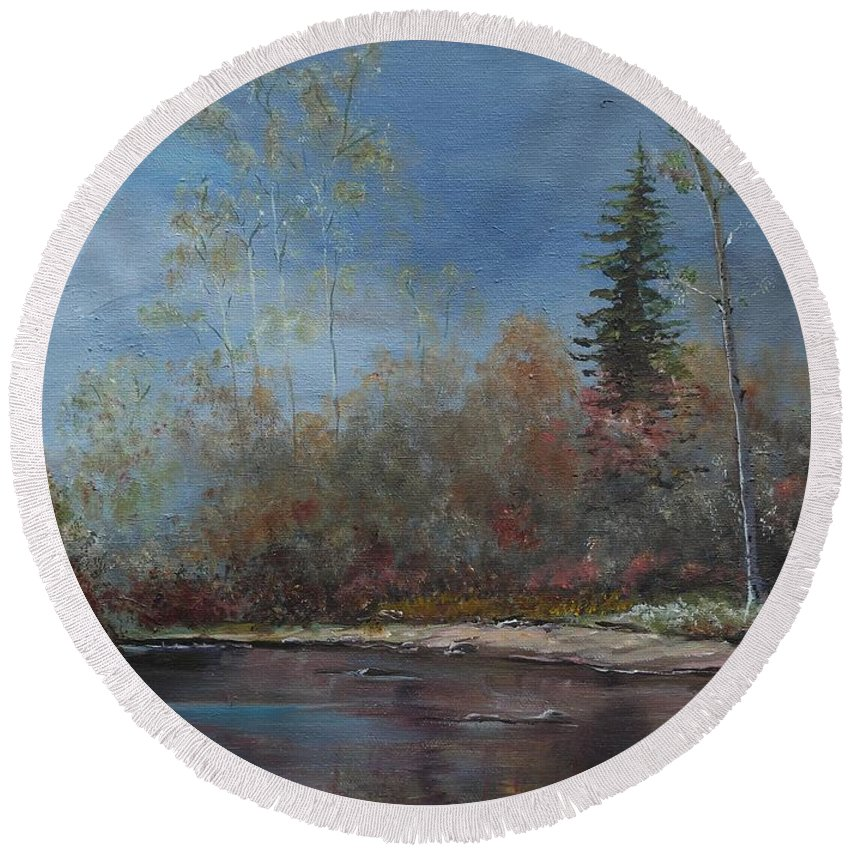 River Round Beach Towel featuring the painting Gentle Stream - Lmj by Ruth Kamenev