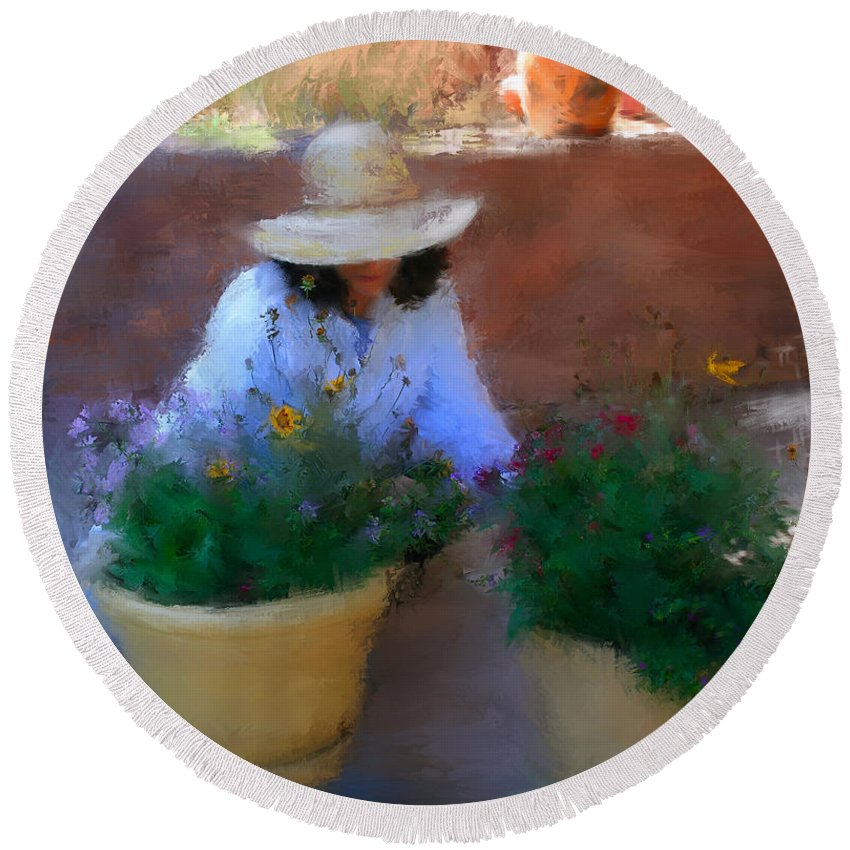 Woman Round Beach Towel featuring the painting Gently Does It by Colleen Taylor