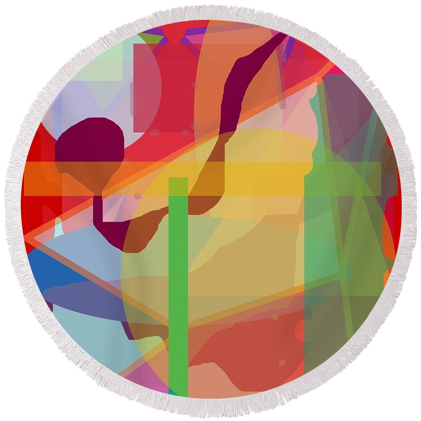 Abstract Round Beach Towel featuring the painting Geo Frenzy by Pharris Art