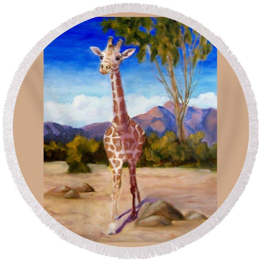 Giraffe Round Beach Towel featuring the painting Geoffrey Giraffe by Jamie Frier