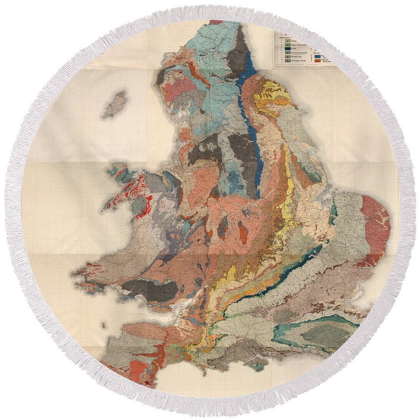 Geological Map Of England And Wales Round Beach Towel featuring the drawing Geological Map Of England And Wales - Historical Relief Map - Antique Map - Historical Atlas by Studio Grafiikka