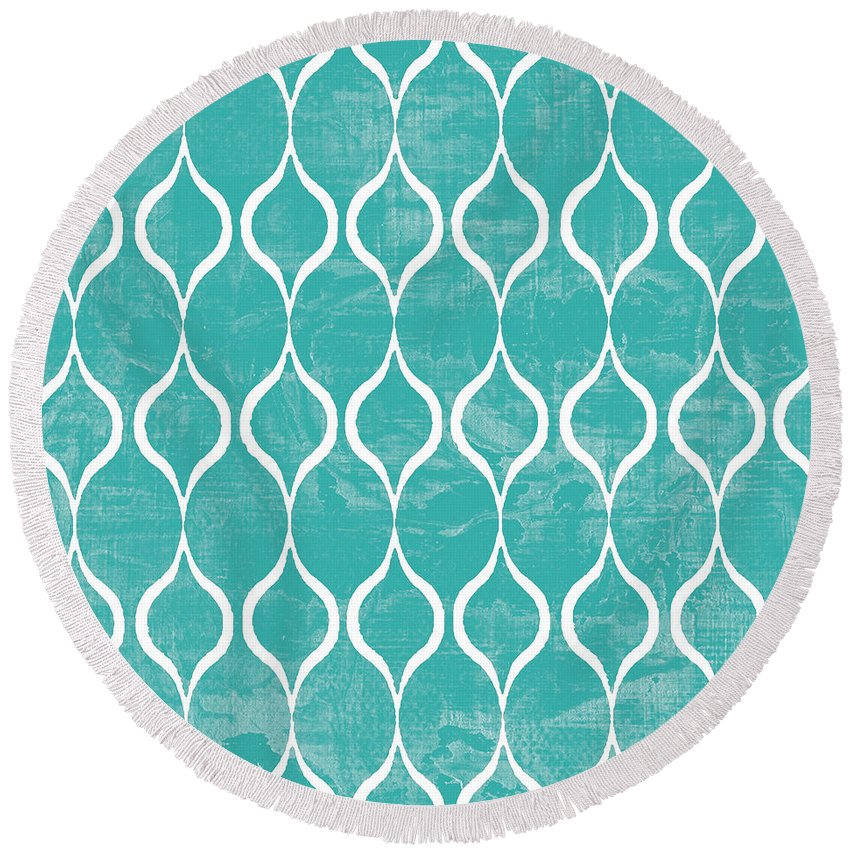 Tile Round Beach Towel featuring the mixed media Geometric 3 by Marilu Windvand