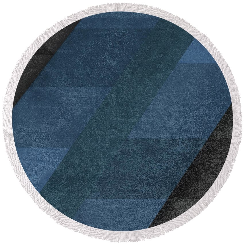 Blue Round Beach Towel featuring the digital art Geometric Blue by Renato Kolberg