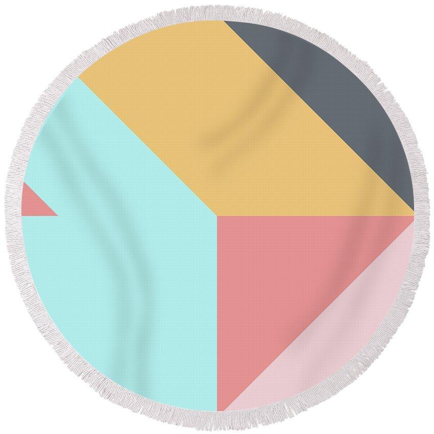 Round Beach Towel featuring the digital art Geometric Pattern Vii by Ultra Pop