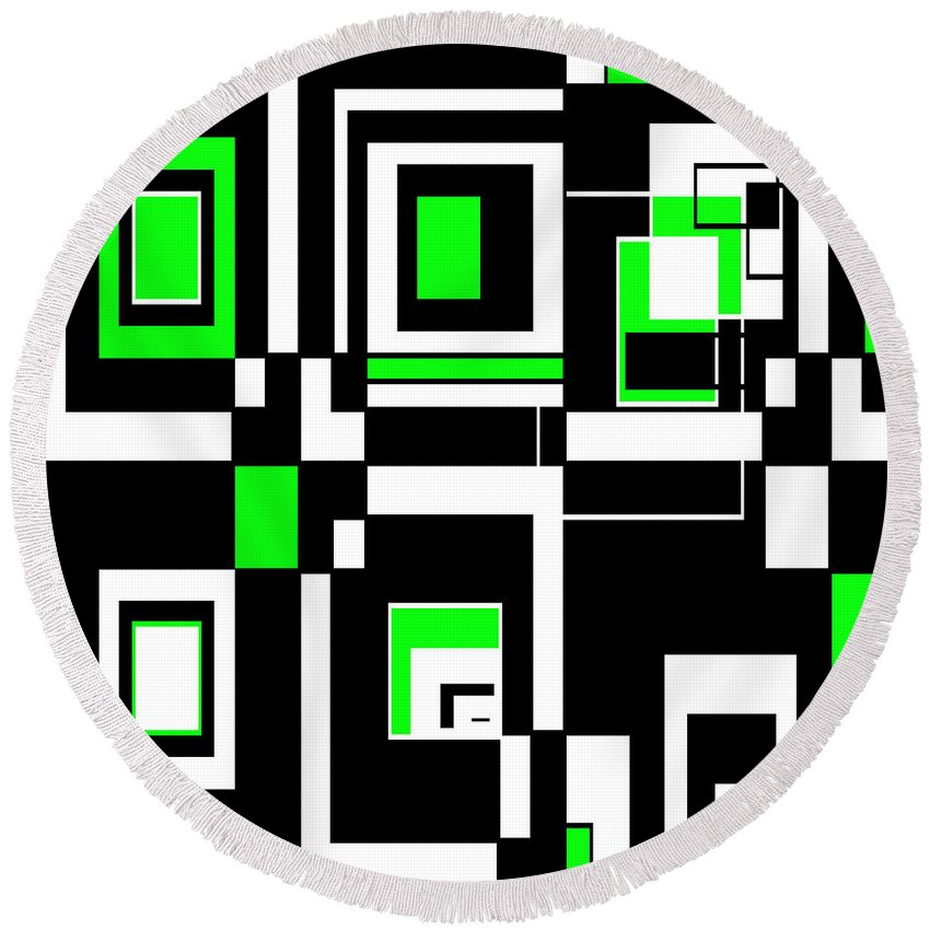 Abstract Round Beach Towel featuring the digital art Geometric Pizazz 4 by Candice Danielle Hughes