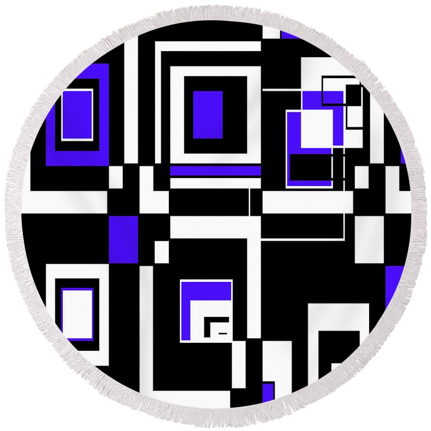 Abstract Round Beach Towel featuring the digital art Geometric Pizazz 5 by Candice Danielle Hughes