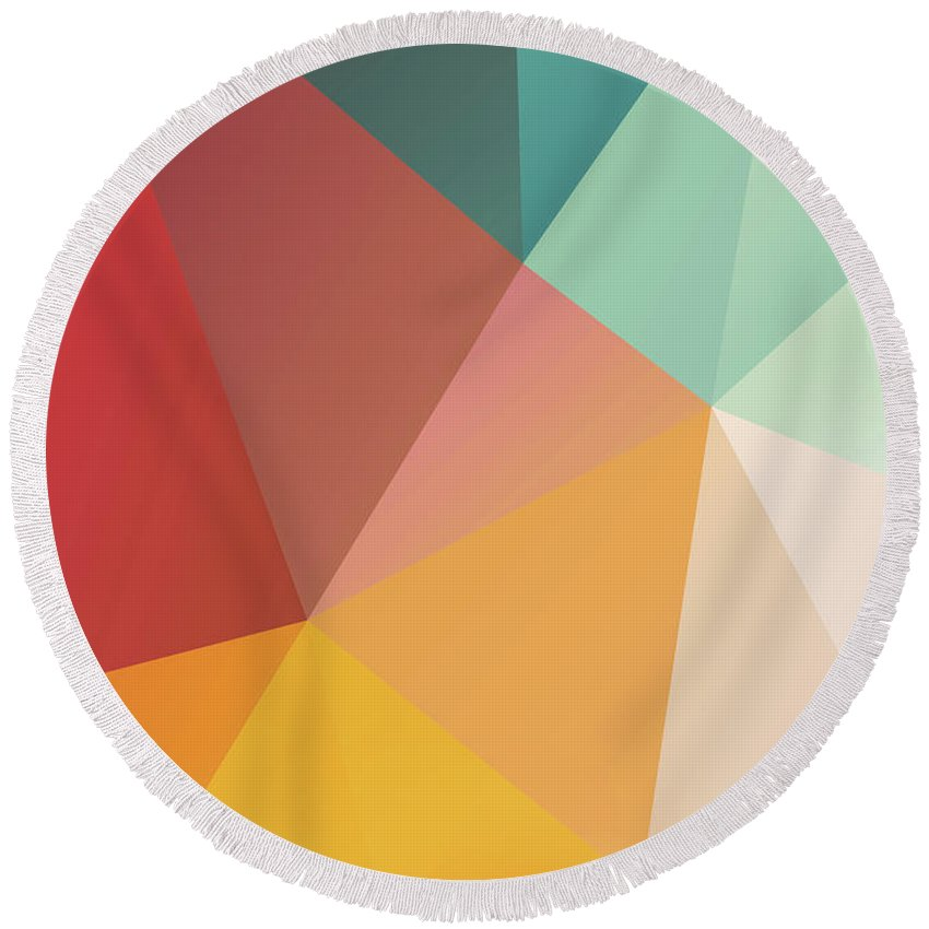 Round Beach Towel featuring the digital art Geometric Xxix by Ultra Pop