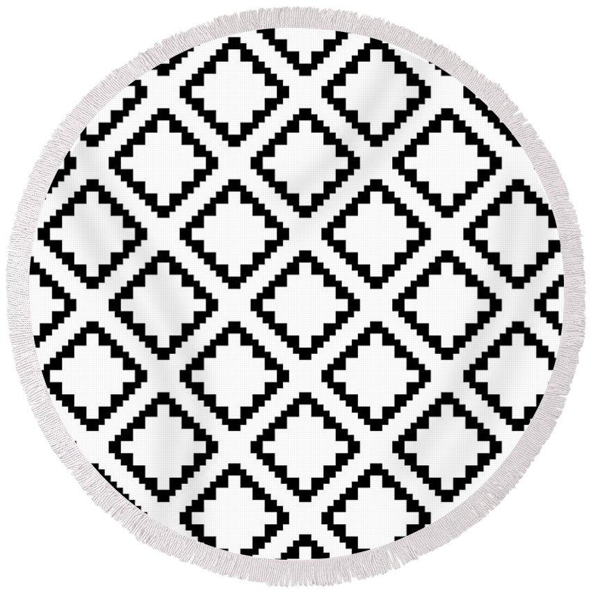 Round Beach Towel featuring the digital art Geometricsquaresdiamondpattern by Rachel Follett