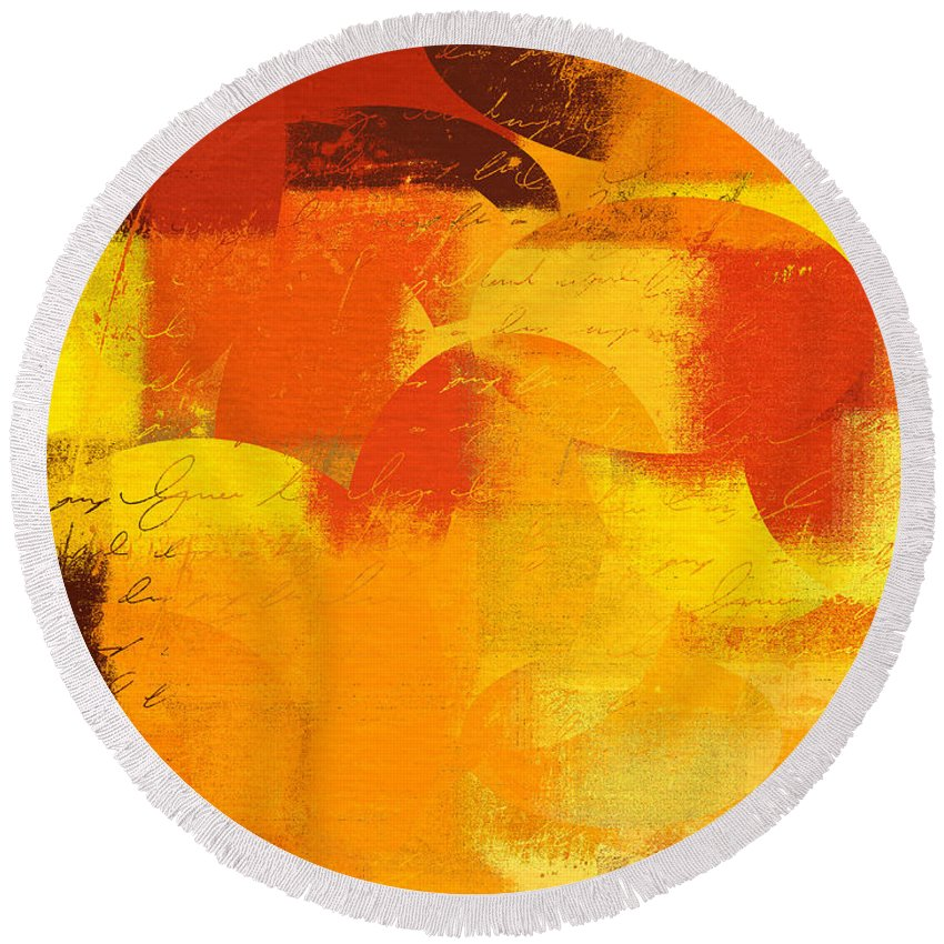 Orange Round Beach Towel featuring the digital art Geomix 05 - 01at01 by Variance Collections