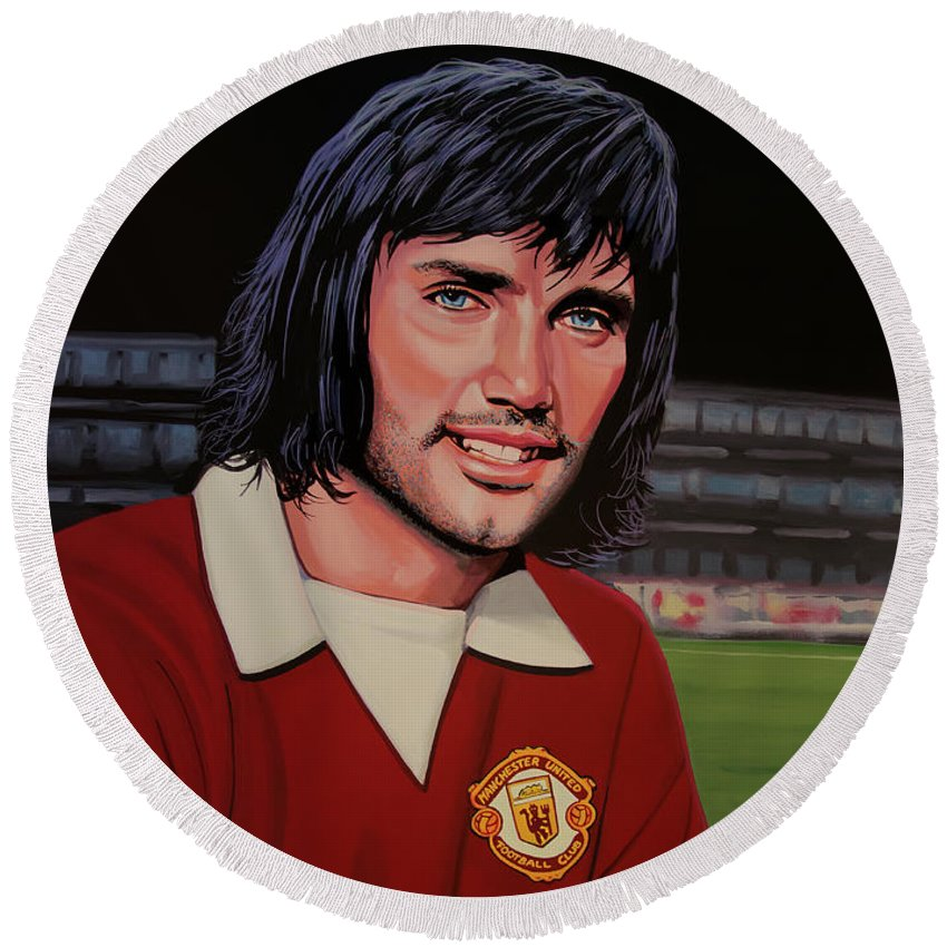 4fb5be62db8 George Best Round Beach Towel featuring the painting George Best Painting  by Paul Meijering