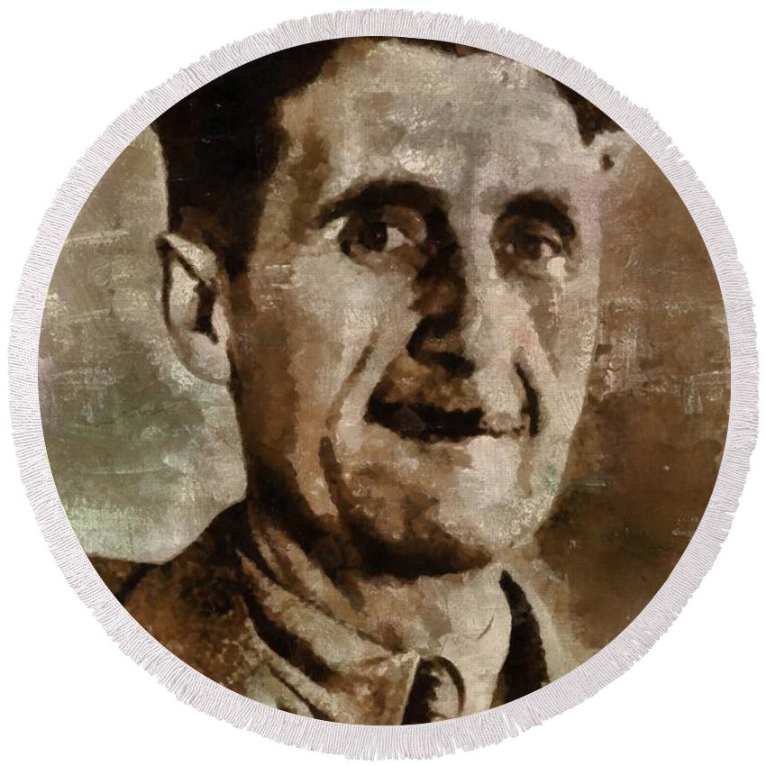 George Round Beach Towel featuring the painting George Orwell Author by Mary Bassett