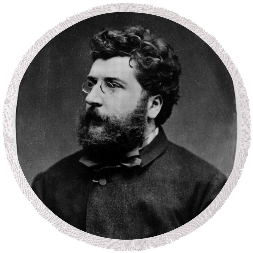 Fine Arts Round Beach Towel featuring the photograph Georges Bizet, French Composer by Science Source