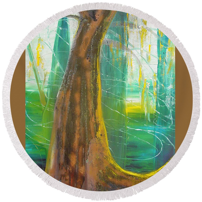 Landscape Round Beach Towel featuring the painting Georgia Morning by Peggy Blood