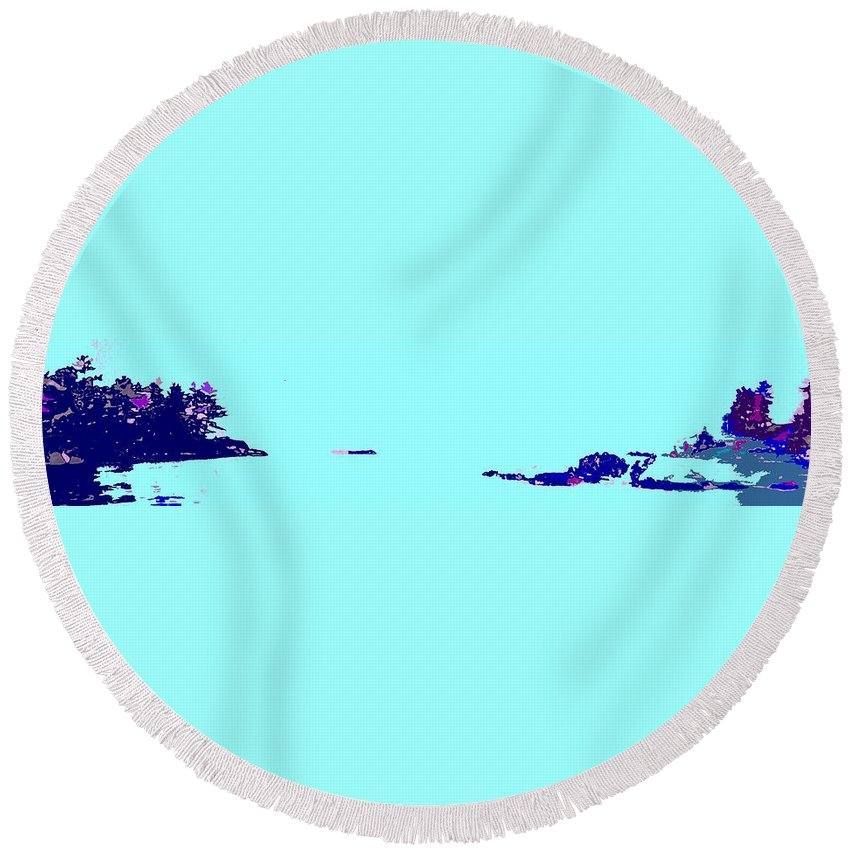 Round Beach Towel featuring the photograph Georgian Bay Blue by Ian MacDonald