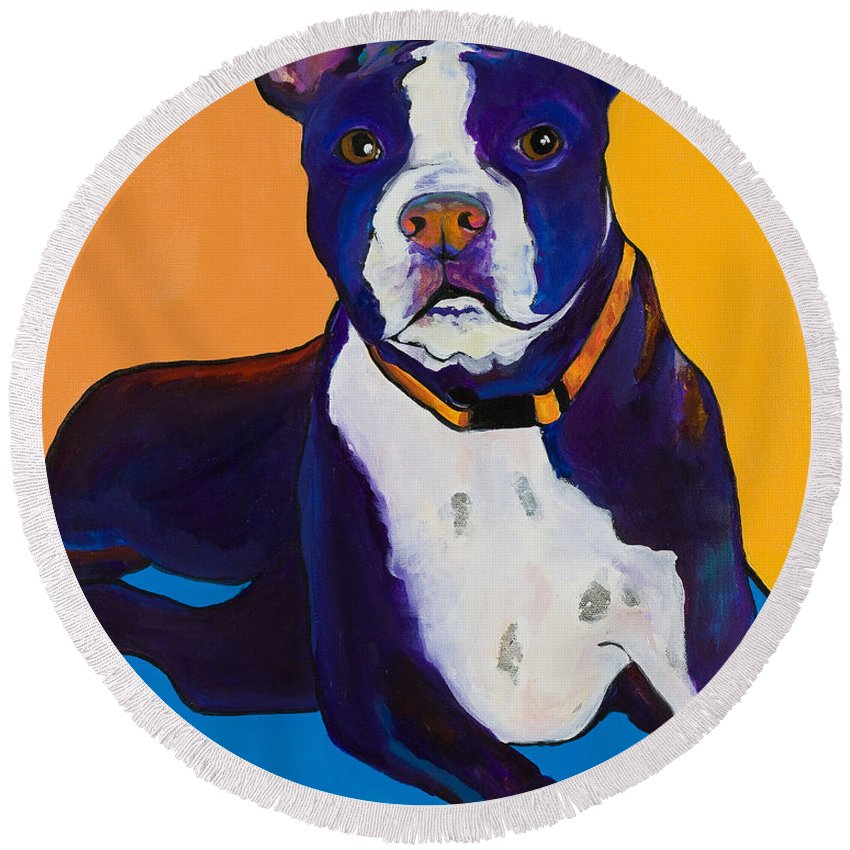 Boston Terrier Round Beach Towel featuring the painting Georgie by Pat Saunders-White