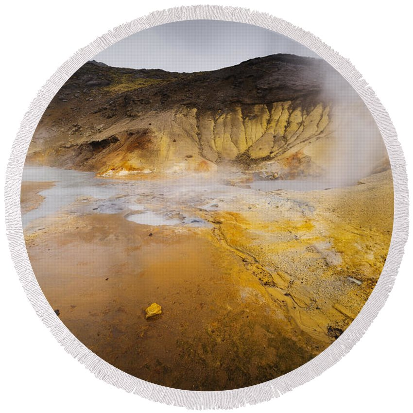 Beautiful Round Beach Towel featuring the photograph Geothermal Area by Svetlana Sewell