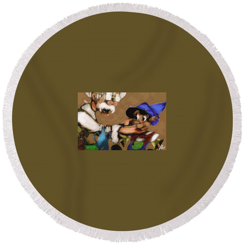 Superhero Art Round Beach Towel featuring the painting Geppetto And Pinochio by Jazzboy