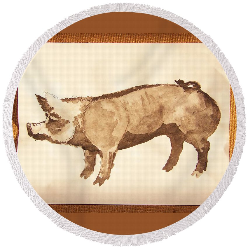 German Pietrain Boar Round Beach Towel featuring the photograph German Pietrain Boar 31 by Larry Campbell