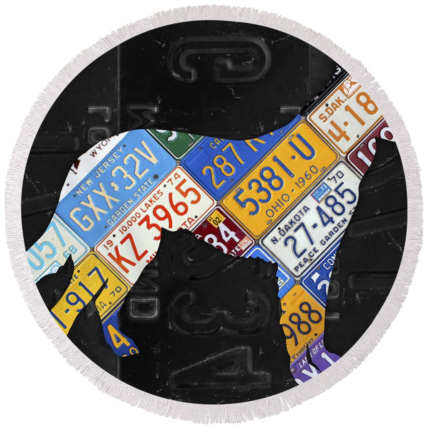Collie Round Beach Towel featuring the mixed media German Shepherd Dog Pet Owner Love Vintage Recycled License Plate Artwork by Design Turnpike