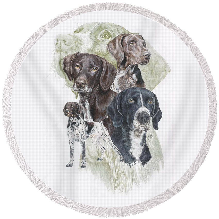 Gshp Round Beach Towel featuring the mixed media German Shorted-haired Pointer Revamp by Barbara Keith