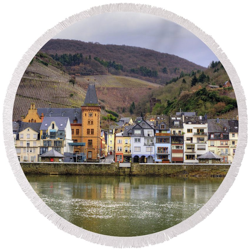 Village Round Beach Towel featuring the photograph German Wine Country by Juli Scalzi