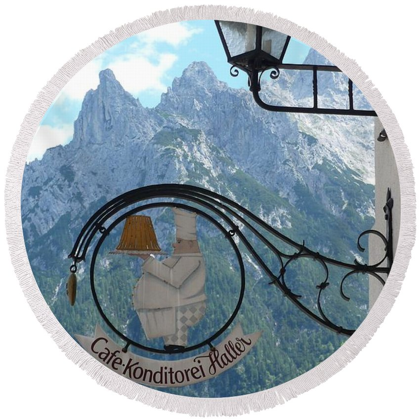 Bavarian Alps Round Beach Towel featuring the photograph Germany - Cafe Sign by Carol Groenen