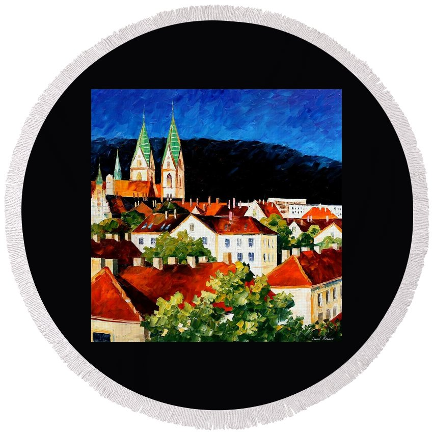 Afremov Round Beach Towel featuring the painting Germany Freiburg by Leonid Afremov