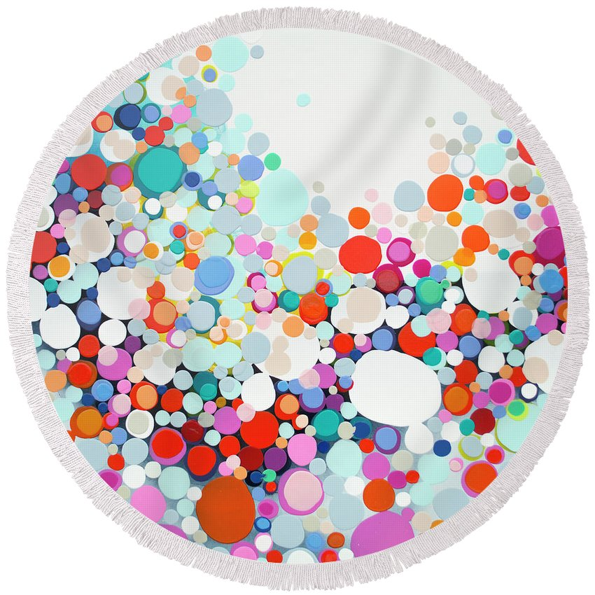 Abstract Round Beach Towel featuring the painting Get Home Late by Claire Desjardins
