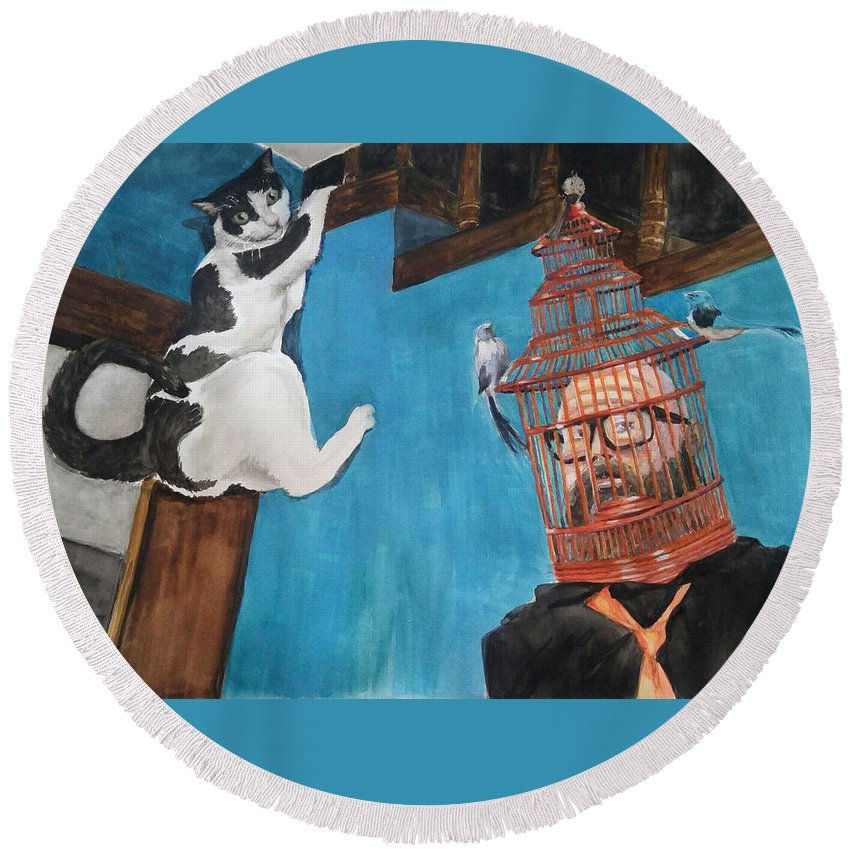 Cats Round Beach Towel featuring the painting Get Me Out Of Here by Donna Rollins