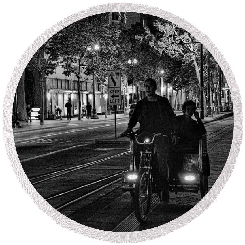 Architecture Round Beach Towel featuring the photograph Getting Around San Jose Nights by Chuck Kuhn